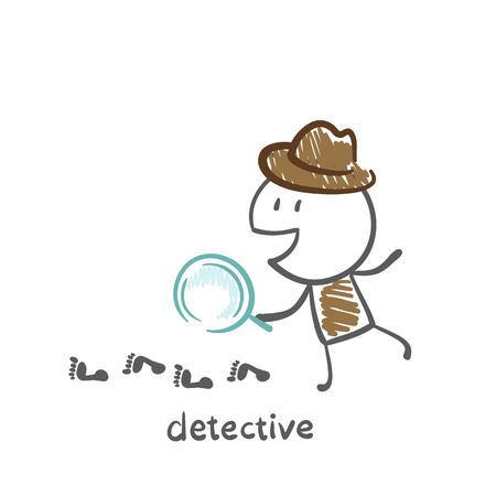 detective looking through a magnifying glass in the following illustration