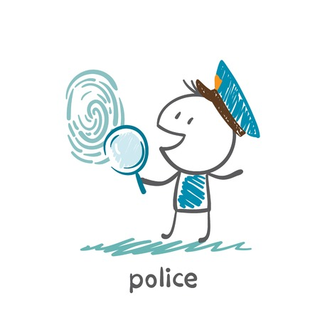 Police looking for fingerprint illustration of a magnifying glass