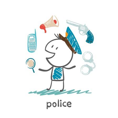 perro policia: ilustración policía