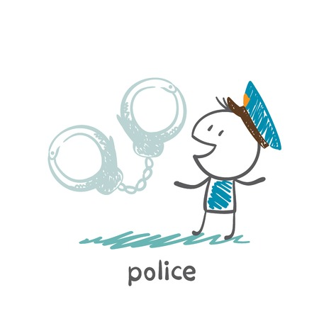 police and handcuffs illustration Banco de Imagens - 36069013