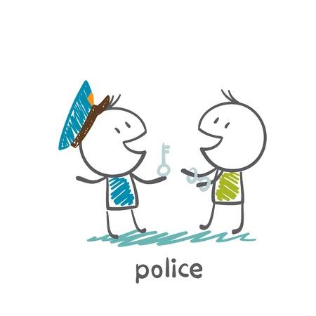 Police put on handcuffs thief illustration Illustration
