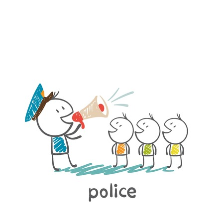 police yelling at people in the speaker illustration