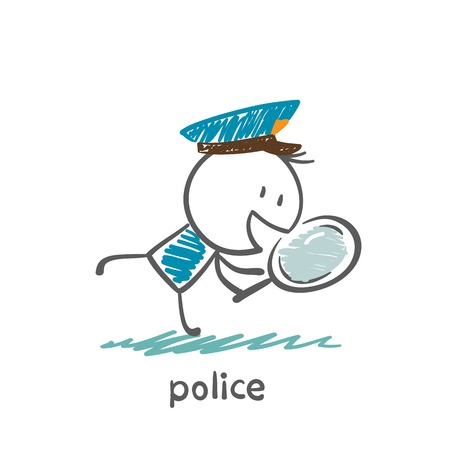 Police looking into a magnifying glass illustration