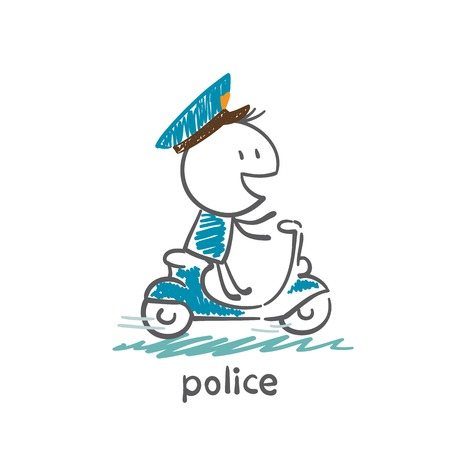 policeman riding a moped illustration Vector