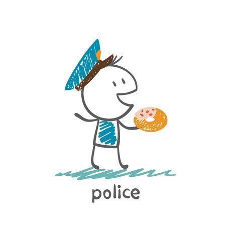 bestechung: Polizist mit Donut Abbildung