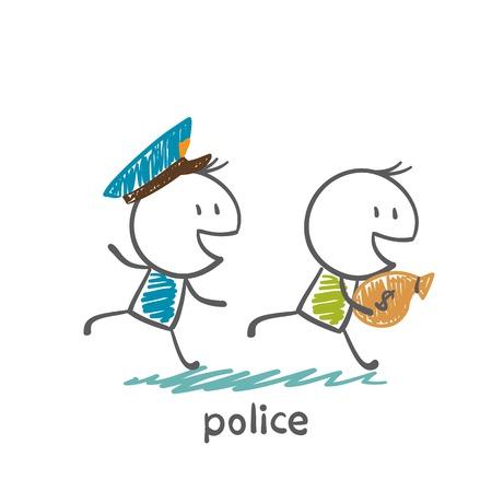 bestechung: Polizist nach einem Dieb illustration laufenden