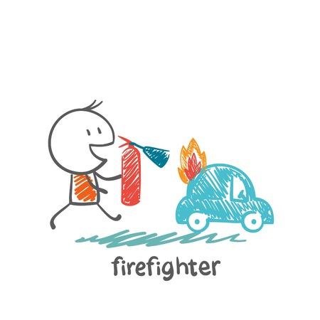 brandweer cartoon: brandweerman blussen van een brandblusser auto illustratie