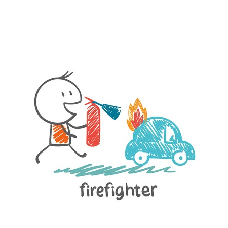 burning man: firefighter extinguish a fire extinguisher car illustration