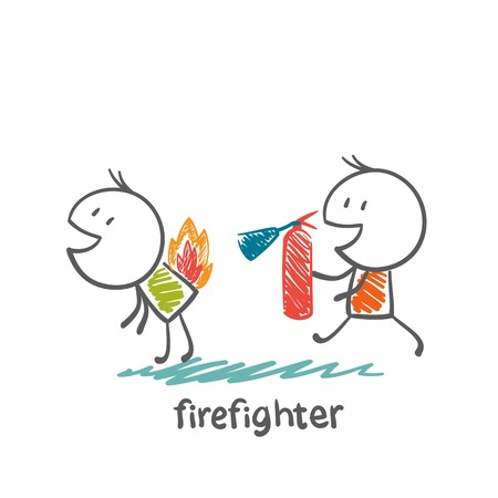 smoke alarm: firefighter extinguish a fire extinguisher human illustration