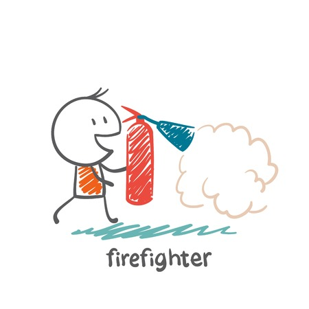 firefighter extinguish a fire extinguisher illustration Vector