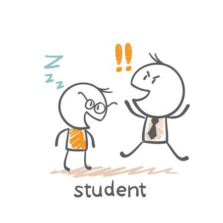 fell: student fell asleep in front of the teacher illustration
