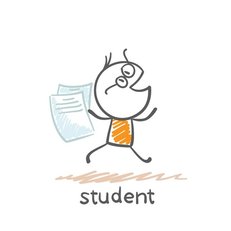 student runs with sheets of paper illustration Illustration