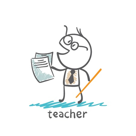 chock: teacher with a pointer and paper illustration Illustration