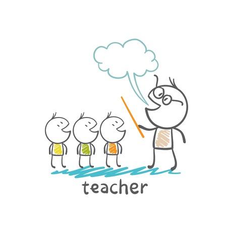 teaches: teacher with a pointer teaches children paper illustration