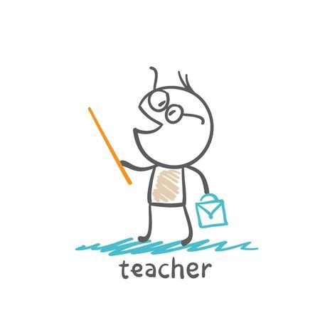 teacher with a suitcase illustration Illustration