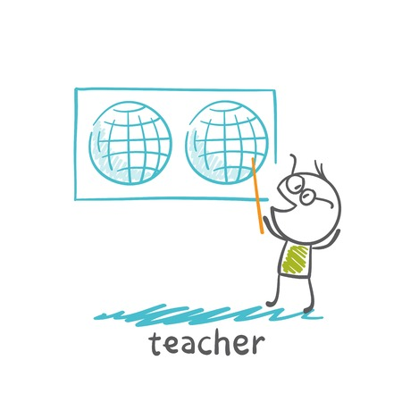 chock: teacher showing a world map illustration