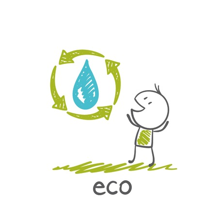 man standing near a drop arrow indicating the ecosystem illustration