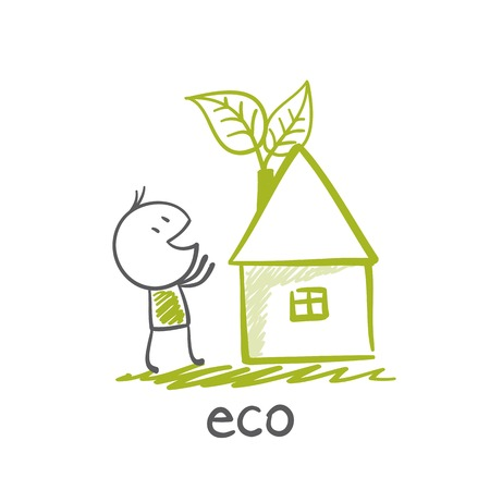 man standing near an eco-house in illustration Vector