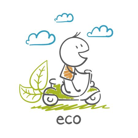 out of gas: man goes to eco-moped illustration