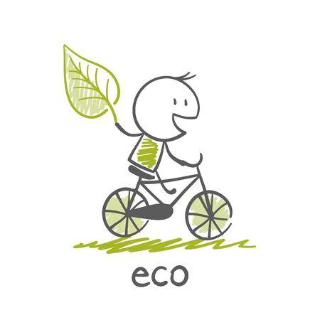 man gaat om eco-fiets illustratie