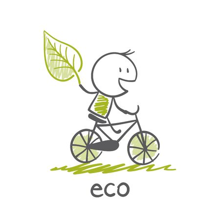 conservation: man goes to eco-bike illustration Illustration