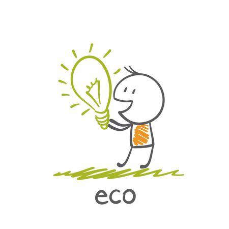 man holding eco-bulb illustration Ilustração