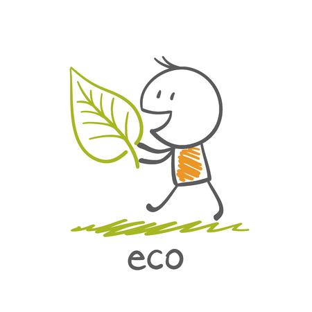 carries: person carries the plant to improve the ecology illustration
