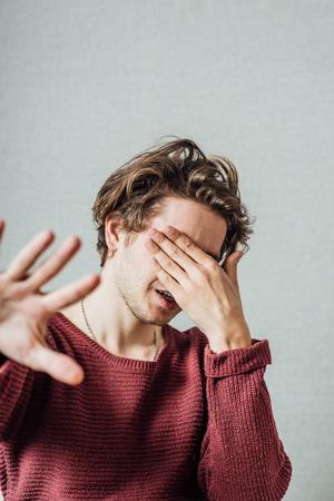 stop gesture: Businessman shows stop gesture Stock Photo