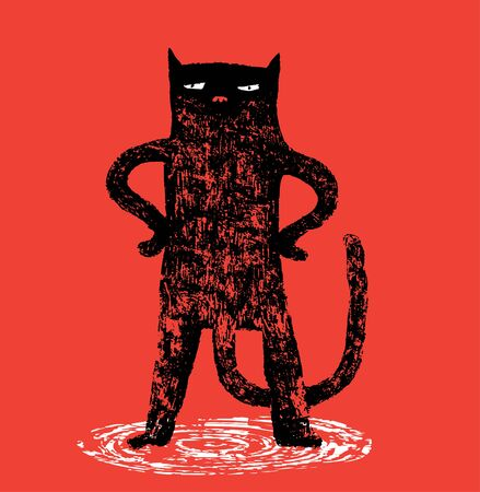 Serious cat is standing on a red background
