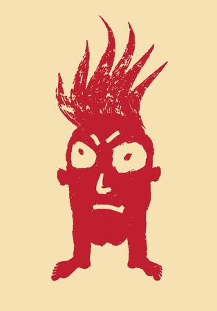 burning head, concept of stinging anger