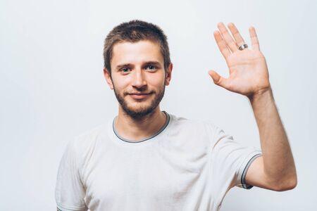 Man showing hello