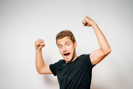 Joyful, a very happy man 版權商用圖片