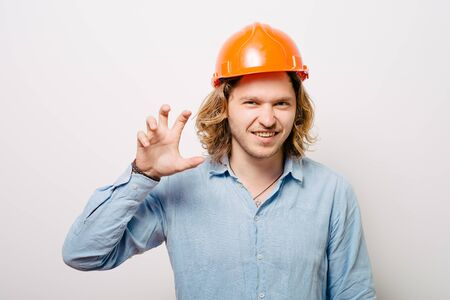 Angry business man with an gesturing with his hands Grrr Stockfoto