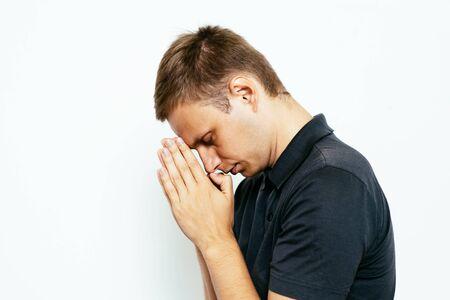 Prayer. Man. Stockfoto