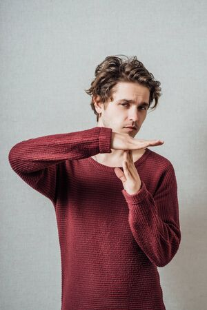 young man saying stop denial gesture Stock Photo