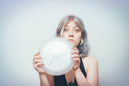 Clock Woman Foto de archivo