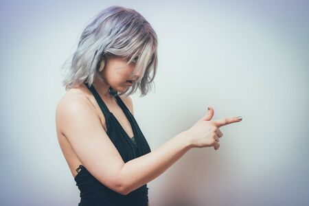 woman pointing concept.