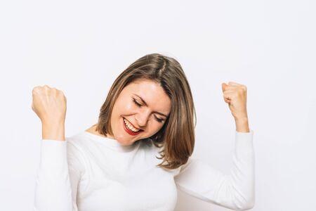 Joyful. Very happy woman