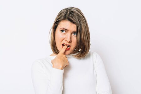 Girl nausea finger in mouth