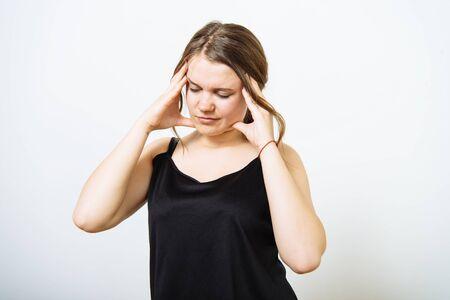 Headache woman Standard-Bild