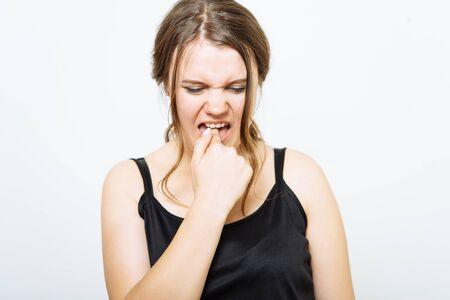 Girl nausea finger in mouth Stockfoto