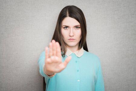 girl showing stop Stock fotó