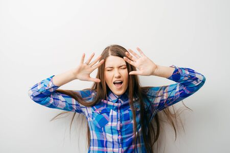 pretty young girl requiring stop with her hands Stock Photo