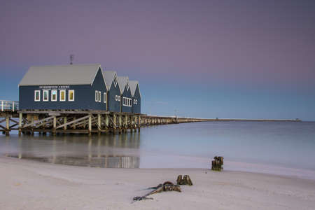 seafronts: Busselton Jetty shimmers in the early morning in light in Busselton, Western Australia, Australia Editorial