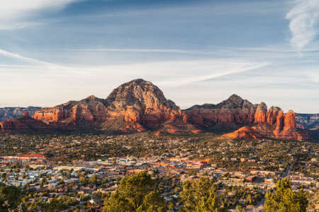 View from Airport Mesa in Sedona at sunset in Arizona, USA
