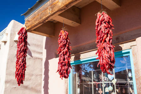 new mexico: Hanging chillis outside a store in Old Town Alburqueque, New Mexico, USA