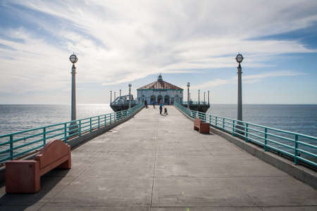 Manhattan Beach pier on a warm sunny day in Los Angeles, California, USA photo