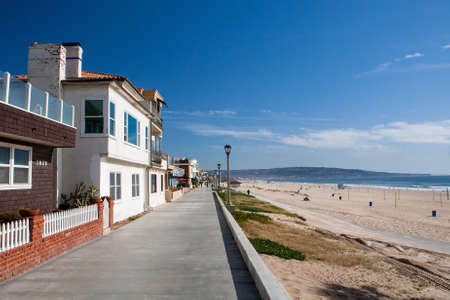 Properties on the waterfront in Manhattan Beach, Los Angeles, California, USA Фото со стока