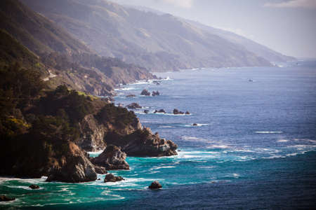 A view out to sea along Big Sur coastline in California, USA photo