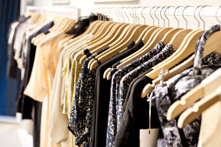 designer clothes: Clothes hang on a shelf in a designer clothes store in Melbourne, Australia